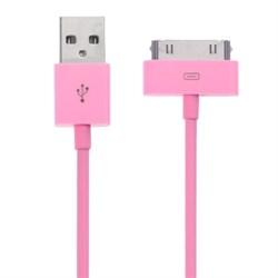 USB дата кабель для iPad/iPhone/iPod 1м розовый - фото 21068