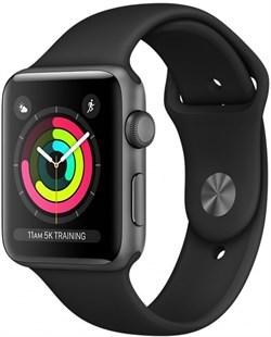 Apple Watch Series 3 (42 мм, корпус из алюминия цвета «серый космос», спортивный ремешок чёрного цвета) - фото 29399