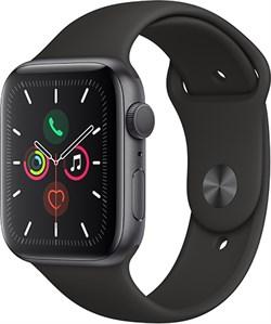Apple Watch Series 5 44 мм Корпус из алюминия цвета «серый космос», спортивный ремешок чёрного цвета - фото 31030