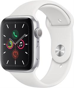 Apple Watch Series 5 44 мм Корпус из алюминия серебристого цвета, спортивный ремешок белого цвета - фото 31042