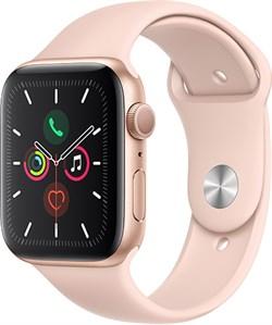 """Apple Watch Series 5 44 мм Корпус из алюминия золотого цвета, спортивный ремешок цвета """"розовый песок"""" - фото 31054"""