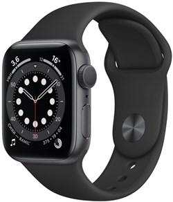 Apple Watch Series 6 40 мм Корпус из алюминия цвета «Серый космос», спортивный ремешок чёрного цвета - фото 31970
