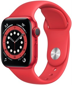 Apple Watch Series 6 40 мм Корпус из алюминия цвета PRODUCT(RED), спортивный ремешок красного цвета - фото 31983