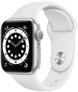 Apple Watch Series 6 40 мм Корпус из алюминия серебристого цвета, спортивный ремешок белого цвета - фото 32016