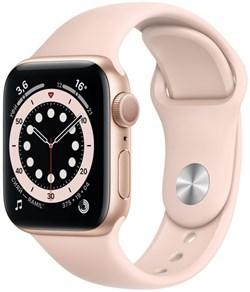 """Apple Watch Series 6 44 мм Корпус из алюминия золотого цвета, спортивный ремешок цвета """"Розовое песок"""" - фото 32064"""