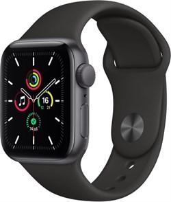 """Apple Watch SE 40 мм Корпус из алюминия цвета """"Серый космос"""", спортивный ремешок черного цвета - фото 32114"""