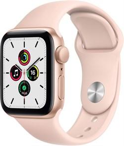 Apple Watch SE 44 мм Корпус из алюминия золотого цвета, спортивный ремешок цвета «Розовый песок» - фото 32177