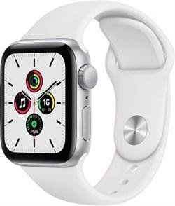 Apple Watch SE 44 мм Корпус из алюминия серебристого цвета, спортивный ремешок белого цвета - фото 32195
