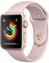 Apple Watch Series 3 (42 мм, корпус из золотистого алюминия, спортивный ремешок цвета «розовый песок»)