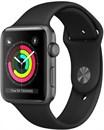 Apple Watch Series 3 (42 мм, корпус из алюминия цвета «серый космос», спортивный ремешок чёрного цвета)