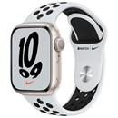 Apple Watch Nike Series 7 45 мм Корпус из алюминия цвета «Cияющая звезда», спортивный ремешок Nike цвета «Чистая платина/чёрный»